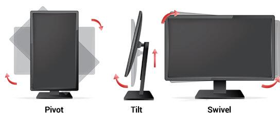 Ergonomie functions in monitors