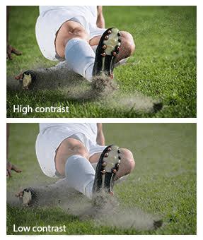 Unterschied des Bildes bei hohem und niedrigem Kontrast eines Beamers